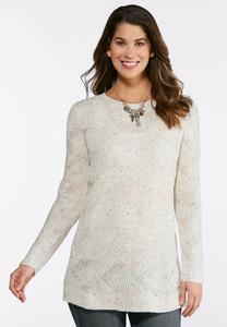 Plus Size Cable Stitch Speckled Tunic Sweater