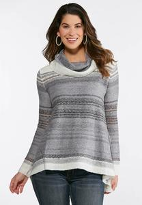 Plus Size Ombre Stripe Swing Sweater
