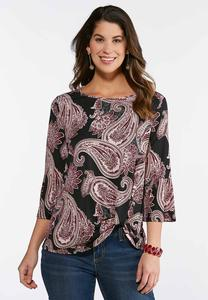 Knotted Foil Paisley Top