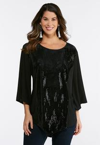 Plus Size Velvet Sequin Top
