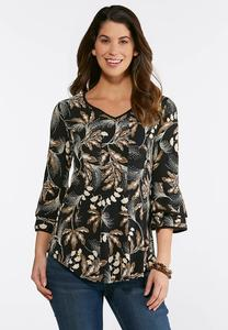Plus Size Seamed Floral Puff Print Top