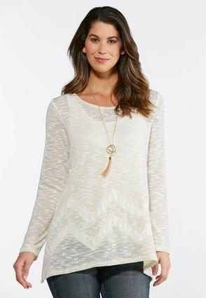 Metallic Thread Lace Inset Top