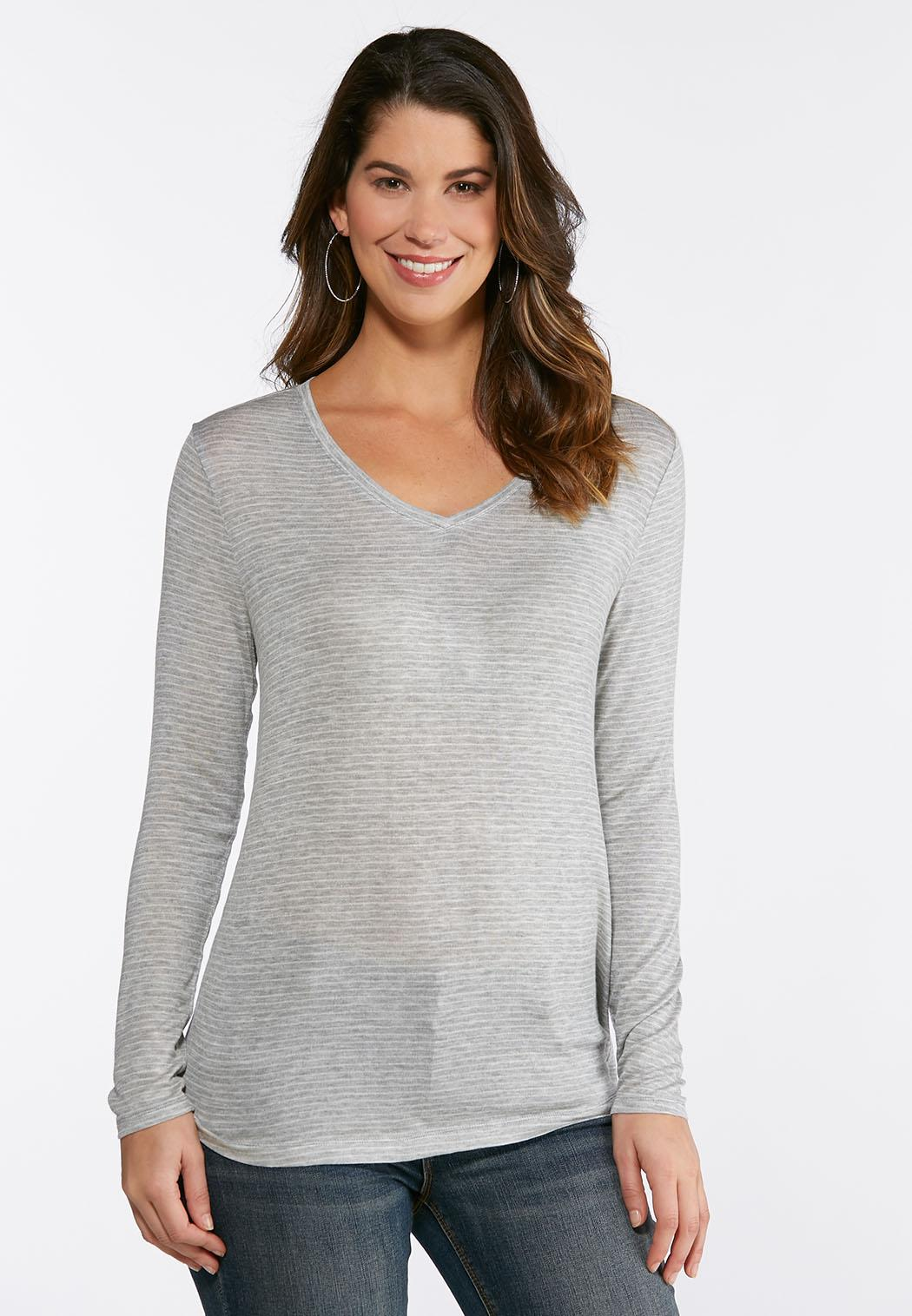 Plus Size Gray Stripe Top Tees & Knit Tops Cato Fashions