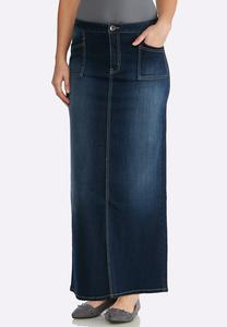 Plus Size Dark Denim Maxi Skirt