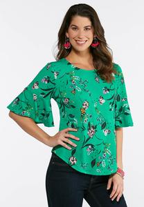 Plus Size Green Floral Butterfly Top