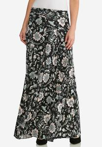 Plus Size Seamed Floral Maxi Skirt