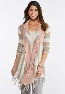 Plus Size Mauve Stripe Cardigan Sweater