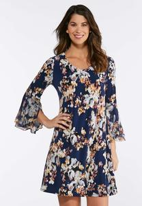 Plus Size Floral Tulip Sleeve Dress