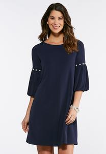 Plus Size Pearl Bubble Sleeve Dress