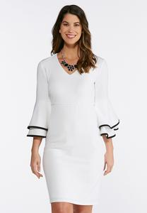 Contrast Flutter Sleeve Sheath Dress