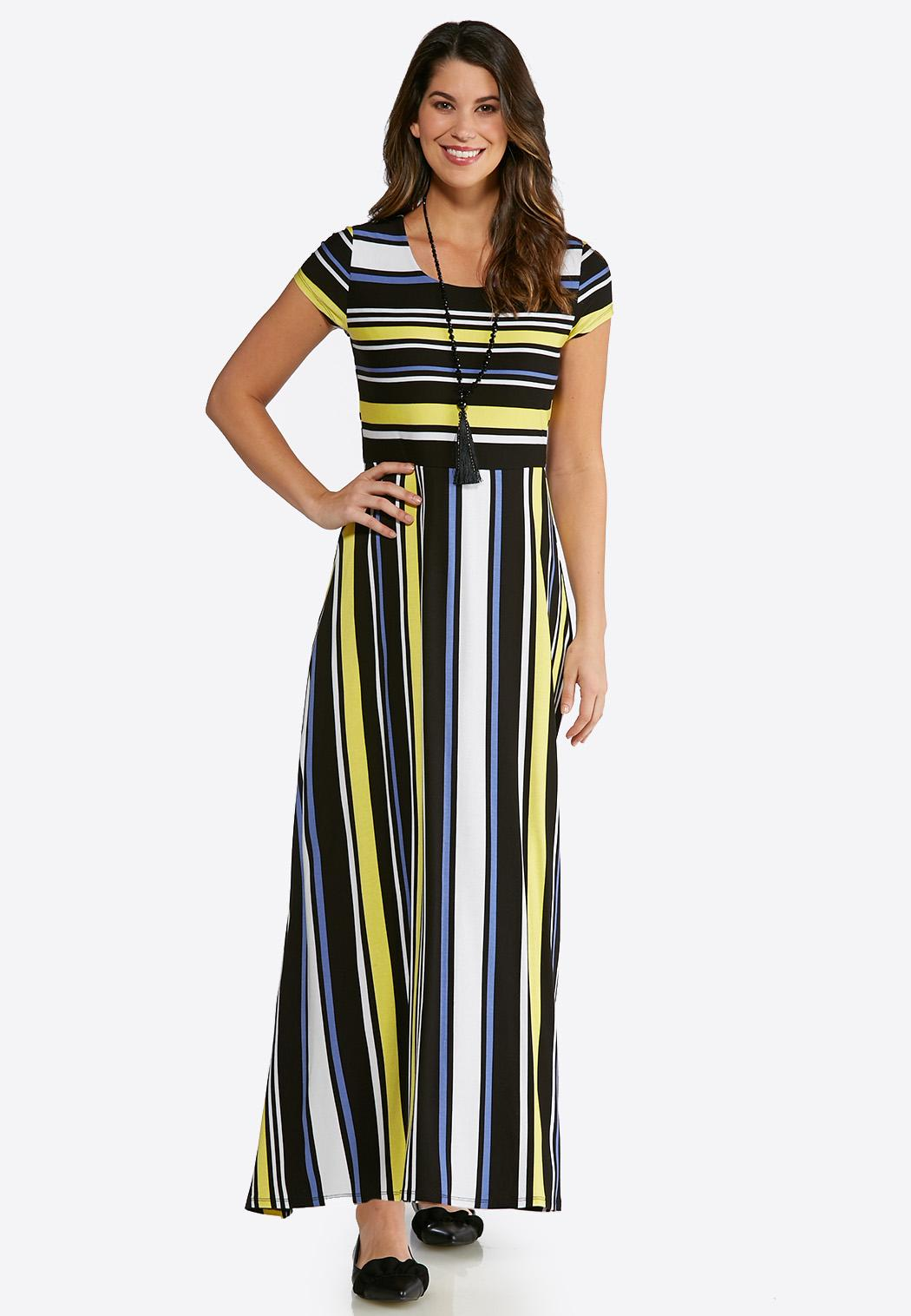 6230415a3e34a Plus Size Golden Stripe Maxi Dress Maxi Cato Fashions