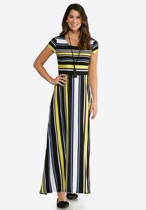 Plus Size Golden Stripe Maxi Dress