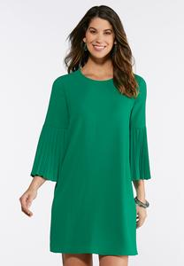Plus Size Pleated Bell Sleeve Dress