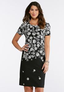 Plus Size Puff Floral Midi Dress