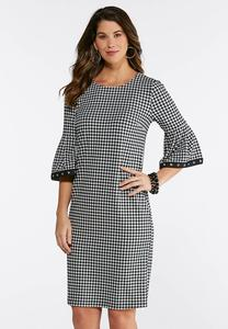 Plus Size Gingham Bell Sleeve Dress