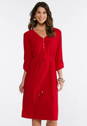 Plus Size Red Knit Shirt Dress