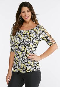 Plus Size Printed Lattice Sleeve Top