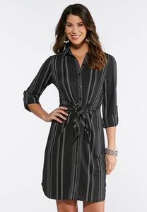 Plus Size Dotted Stripe Shirt Dress