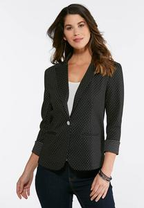 Plus Size Dotted Jaquard Blazer