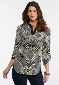 Gold Geo Paisley Top