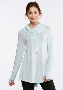 Plus Size Gray Hacci Cowl Neck Tunic