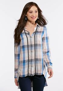 Plus Size Crochet Trim Plaid Top