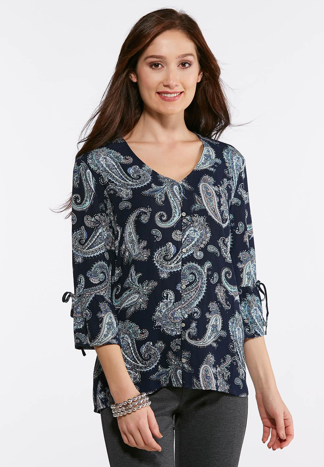063a954bdb0 Plus Size Paisley Ruffled Sleeve Top Shirts   Blouses Cato Fashions