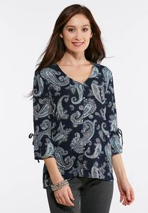 Plus Size Paisley Ruffled Sleeve Top