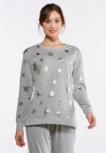 Plus Size Metallic Star Sweatshirt
