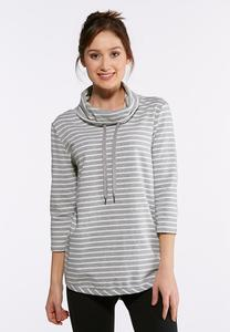 Plus Size Striped Cowl Neck Tunic