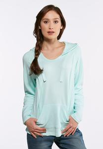 Plus Size Blue Fleece Hooded Sweatshirt