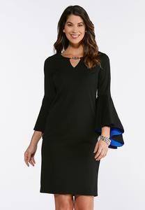 Plus Size Exaggerated Bell Sleeve Dress