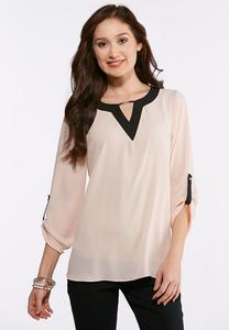 Plus Size Embellished Colorblock Top