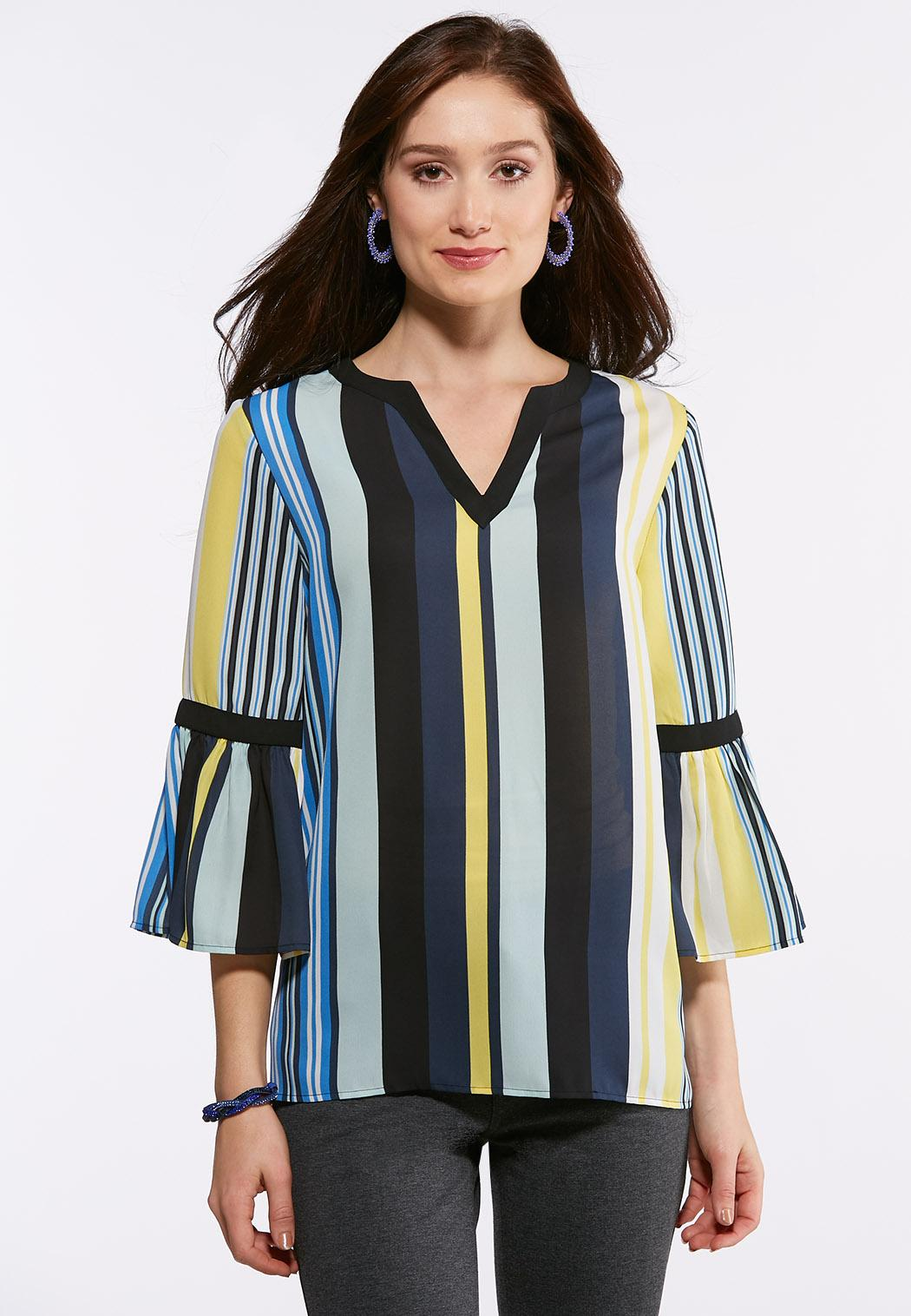 Plus Size Multi Stripe Bell Sleeve Top Shirts Blouses Cato Fashions