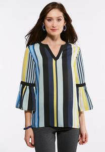 Plus Size Multi Stripe Bell Sleeve Top