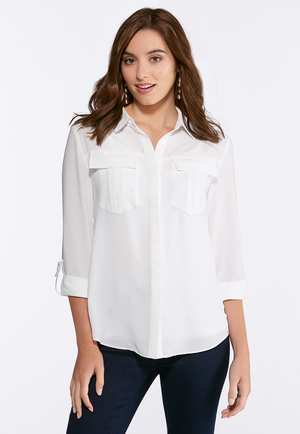 42e02b69 Button Down Solid Boyfriend Shirt Tops Cato Fashions