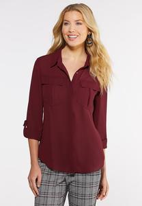 Button Down Solid Boyfriend Shirt