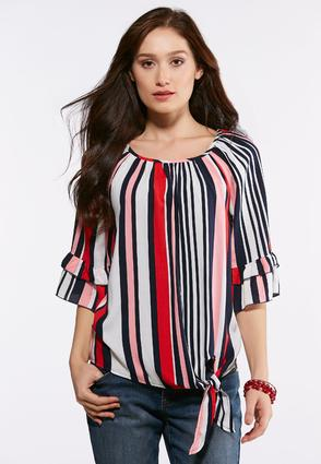 Plus Size Ruffled Stripe Tie Front Top