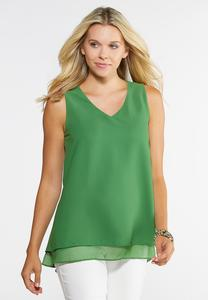 Plus Size Double Layer V-Neck Tank