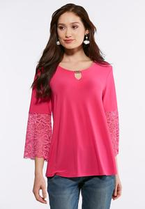 Plus Size Pink Lace Bell Sleeve Top