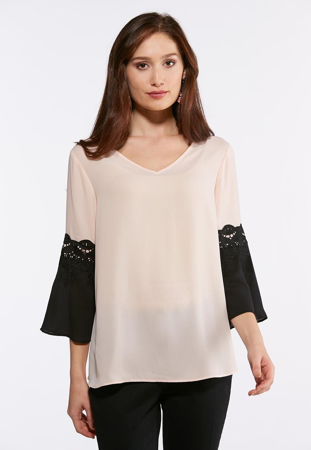 Plus Size Lace Trim Bell Sleeve Top Shirts Blouses Cato Fashions