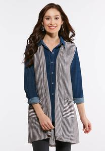 Plus Size Stripe Pocket Vest