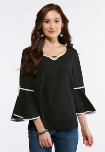 Plus Size Contrast Bell Sleeve Top