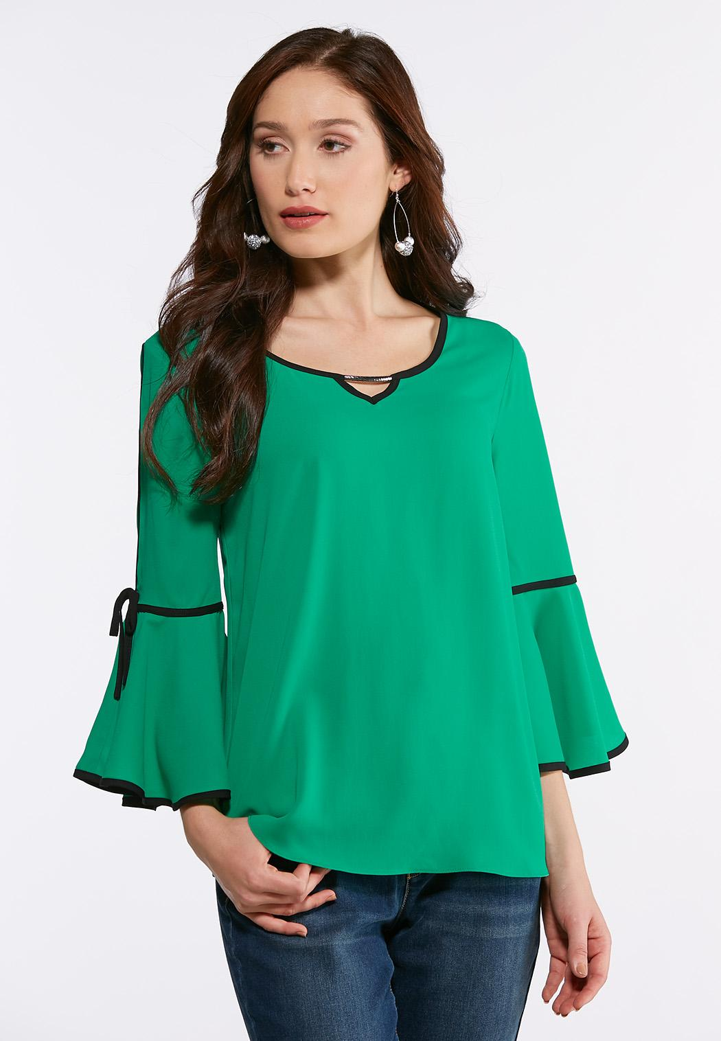 0ffa7dbd Plus Size Contrast Bell Sleeve Top Shirts & Blouses Cato Fashions