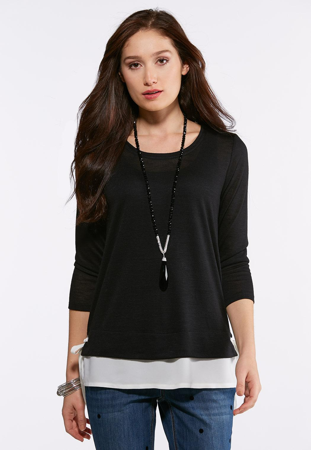 Plus Size Layered Side Tie Top
