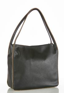 Stud Trim Faux Leather Tote