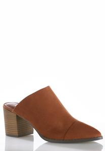 Faux Suede Heeled Mules