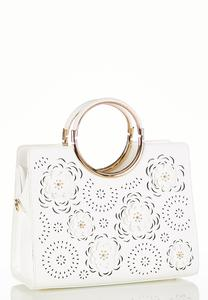 Flower Cutout White Satchel