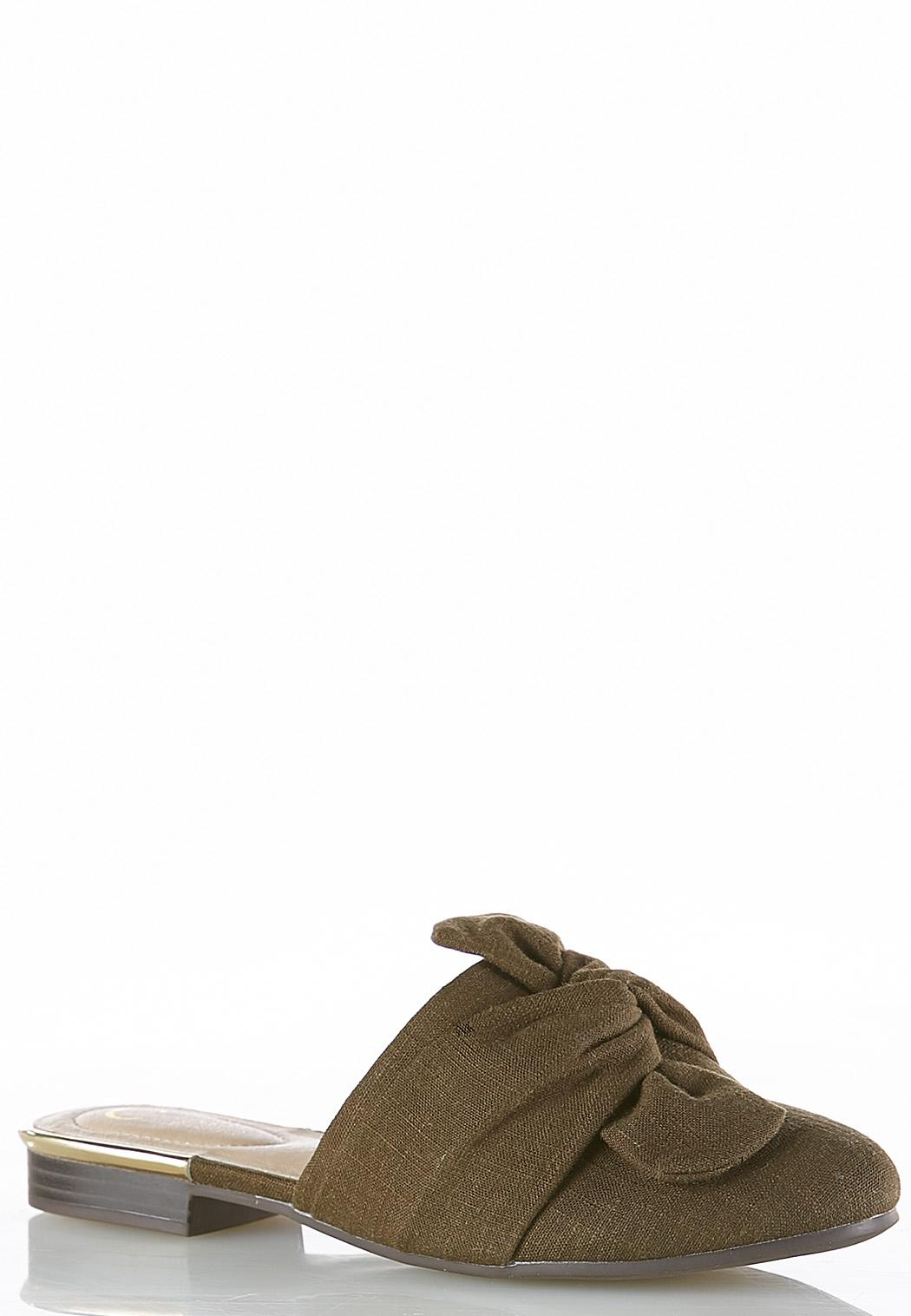 Twisted Bow Canvas Mules