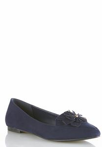 Flower Vamp Faux Suede Flats